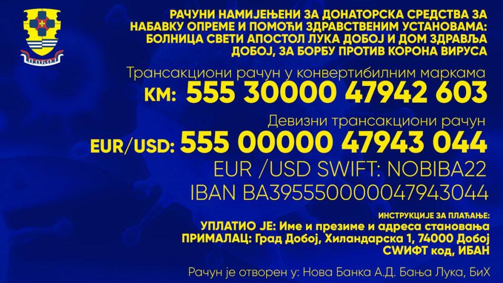 Bankovni računi namijenjeni za donatorska sredstva za nabavku medicinske opreme.